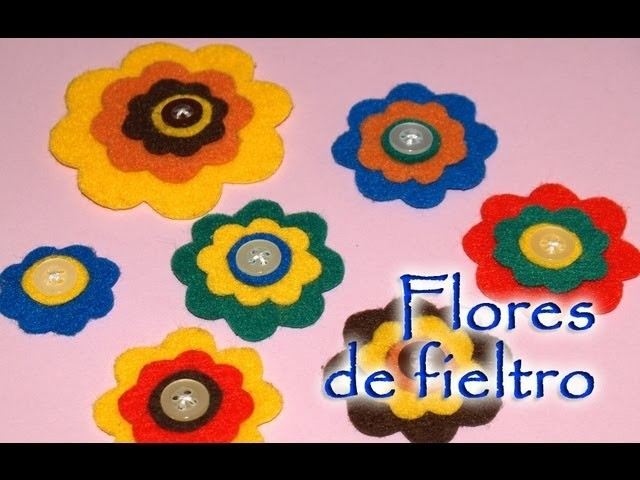 Flores de Fieltro con Botones - DIY - Felt Flowers with Buttons