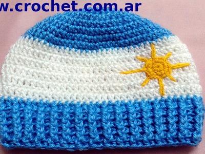 Gorro Argentino para niño en tejido crochet tutorial paso a paso.