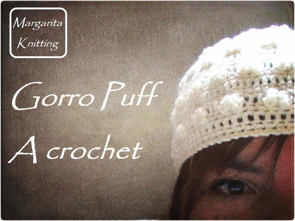 Gorro puff a crochet (diestro)