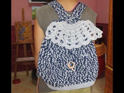 Mochila de trapillo  a crochet -petición de Antonia Figueroa parte 1