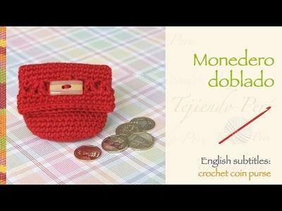 Monedero doblado tejido a crochet. English subtitles: crochet folded coin purse!