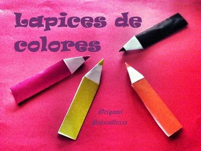 Origami - Papiroflexia. Lapicero de colores fácil de hacer
