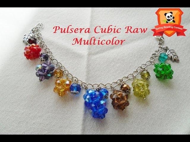 Pandahall Spring Beading Contest | Pulsera Cubic Raw Multicolor