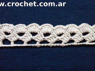 Puntilla N° 43 en tejido crochet tutorial paso a paso.