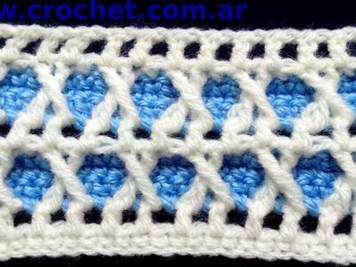 Punto fantasía N° 3 en tejido crochet tutorial paso a paso.