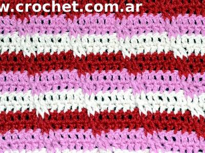 Punto Fantasía N° 37 en tejido crochet tutorial paso a paso.