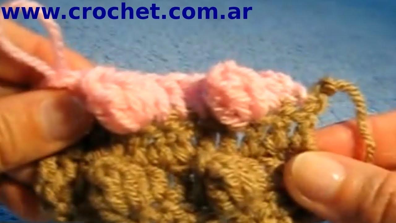 Punto Popcorn en tejido crochet tutorial paso a paso.