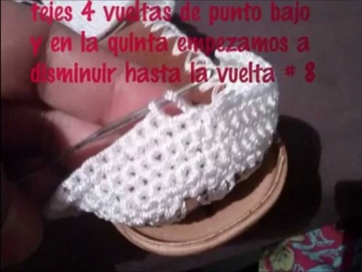 "Sandalias tejidas a crochet con suela para adulto paso a paso "" blanca """