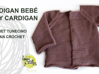 Tutorial Cárdigan Bebé Crochet o Ganchillo Tunecino