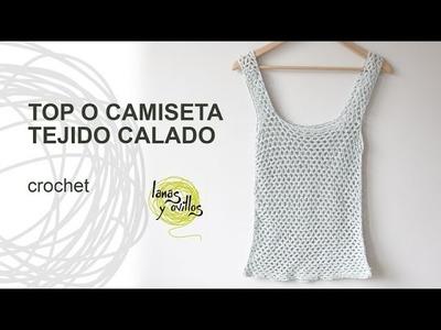 Tutorial Top o Camiseta de Verano Calada a Crochet o Ganchillo