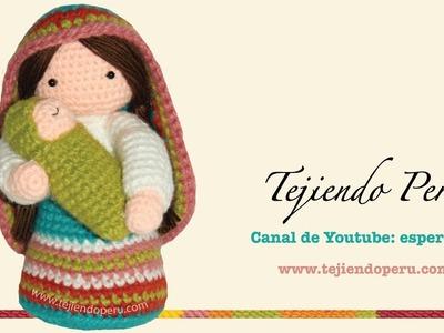 Virgen María y Niño Jesús tejidos a crochet (amigurumi)