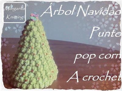 Árbol de Navidad punto pop corn a crochet (diestro)