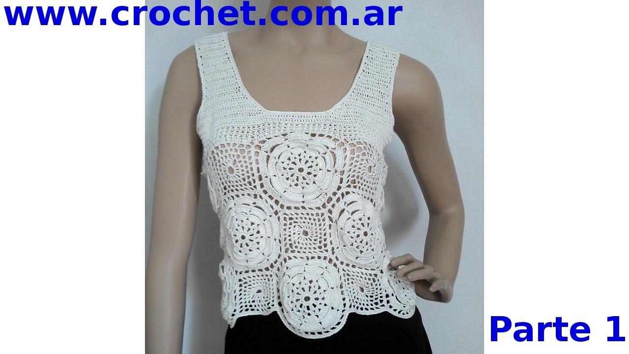 Blusa con Flores Parte1 en tejido crochet tutorial paso a paso.