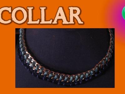 Collar de moda cadenas y raso | Collares | Tutorial | DIY