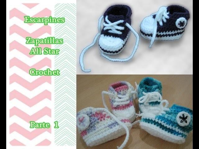 Como hacer escarpines Zapatillas All Star a crochet (muy fácil y rapido) 1.3