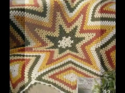 Como Tejer Colcha de estrellas y cuadros  multicolor a crochet