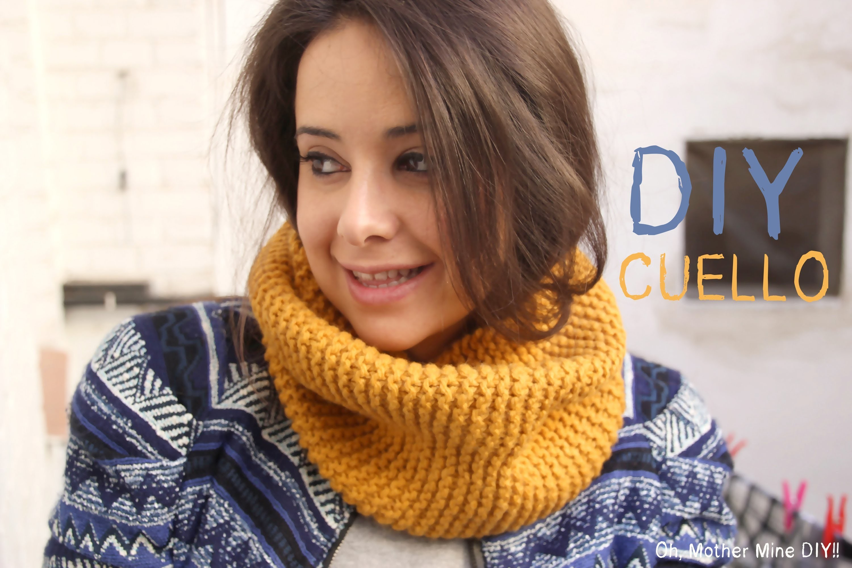 DIY Cómo hacer bufanda cerrada o cuello de lana a punto bobo