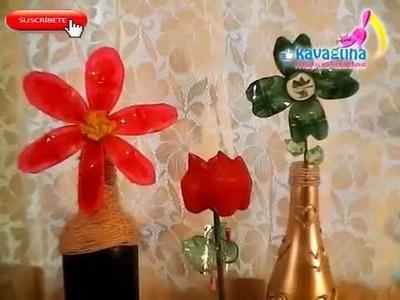 DIY Tutorial de Flores de PET, Margarita, Tulipán y Trébol