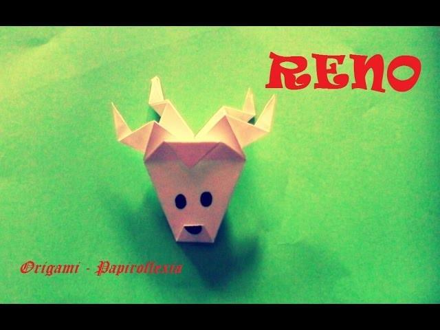 Origami - Papiroflexia. Cabeza de reno, muy sencilla, para Navidad
