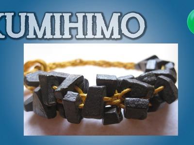 Pulsera redonda con piedras rusticas | Kumihimo | Tutorial | DIY