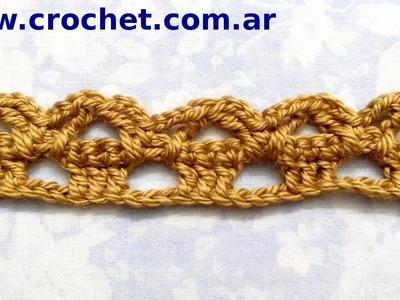 Puntilla N° 20 en tejido crochet tutorial paso a paso.