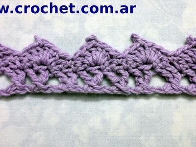 Puntilla N° 28 en tejido crochet tutorial paso a paso.