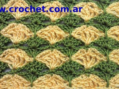 Punto Fantasía N° 19 en tejido crochet tutorial paso a paso.