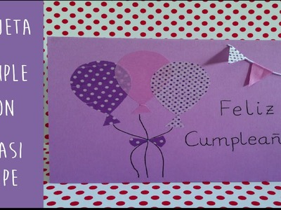 Tarjeta felicitación para cumpleaños con Washi Tape_Manualidades DIY