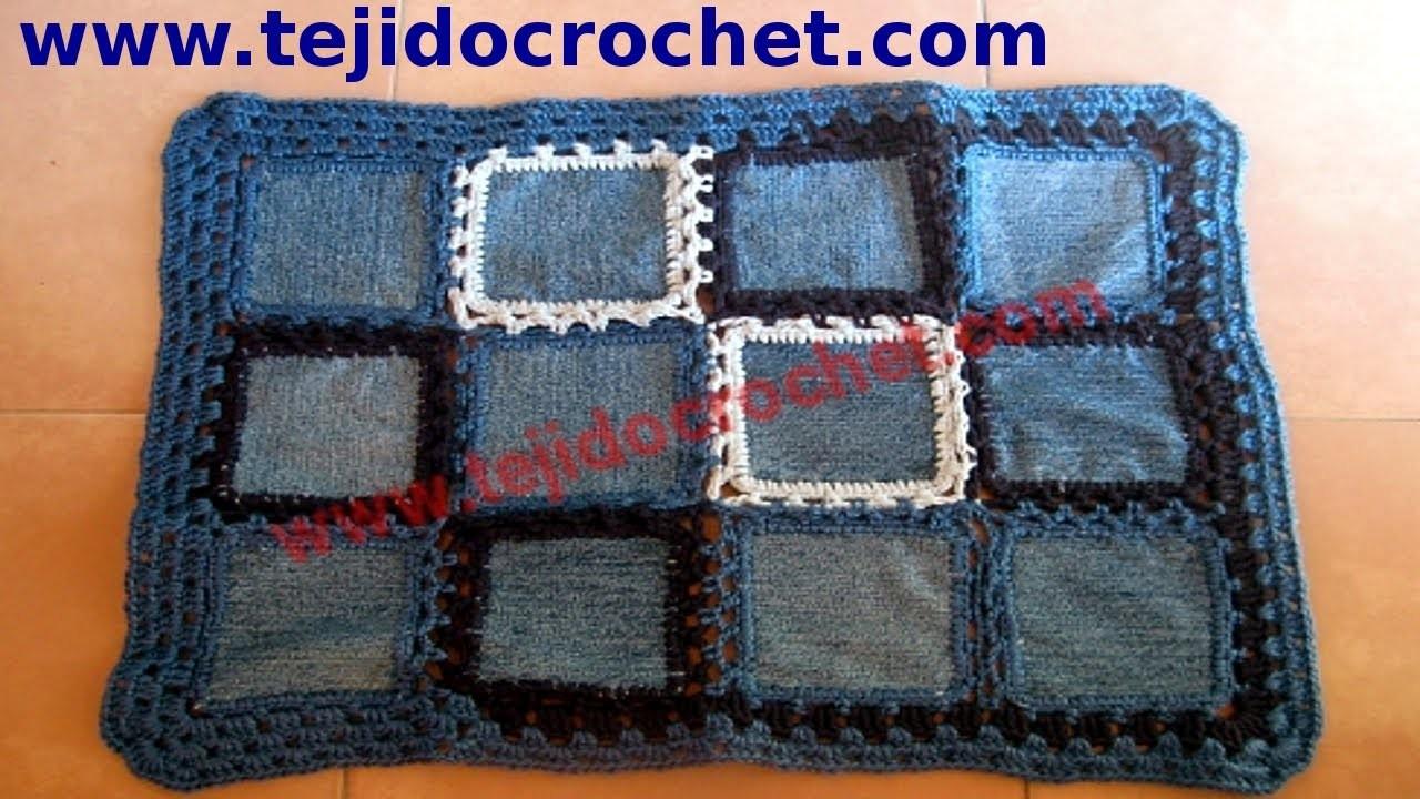 Alfombra de jeans en tejido crochet tutorial paso a paso.