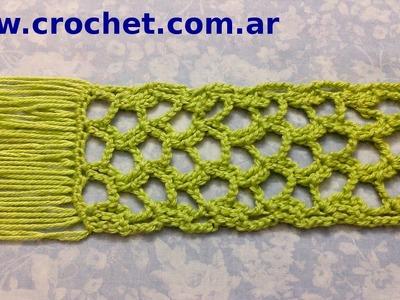 Bufanda punto calado en tejido crochet tutorial paso a paso.