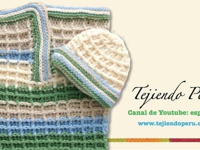 Capullo o cocoon y gorro en waffle crochet para bebes (Parte 2)