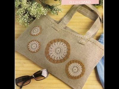 Como hacer bolso de lino y crochet