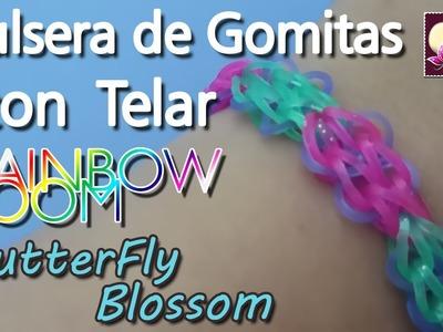 Cómo hacer pulseras de gomitas con telar. Modelo  Butterfly Blossom.Tutorial. DIY.
