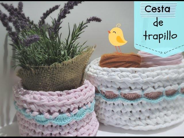 Cómo hacer una cesta de trapillo con borde - How to make crochet basket