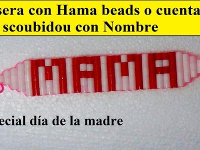 Como hacer una pulsera con nombre con hama beads e hilo scoubidou o con cuentas de colores.