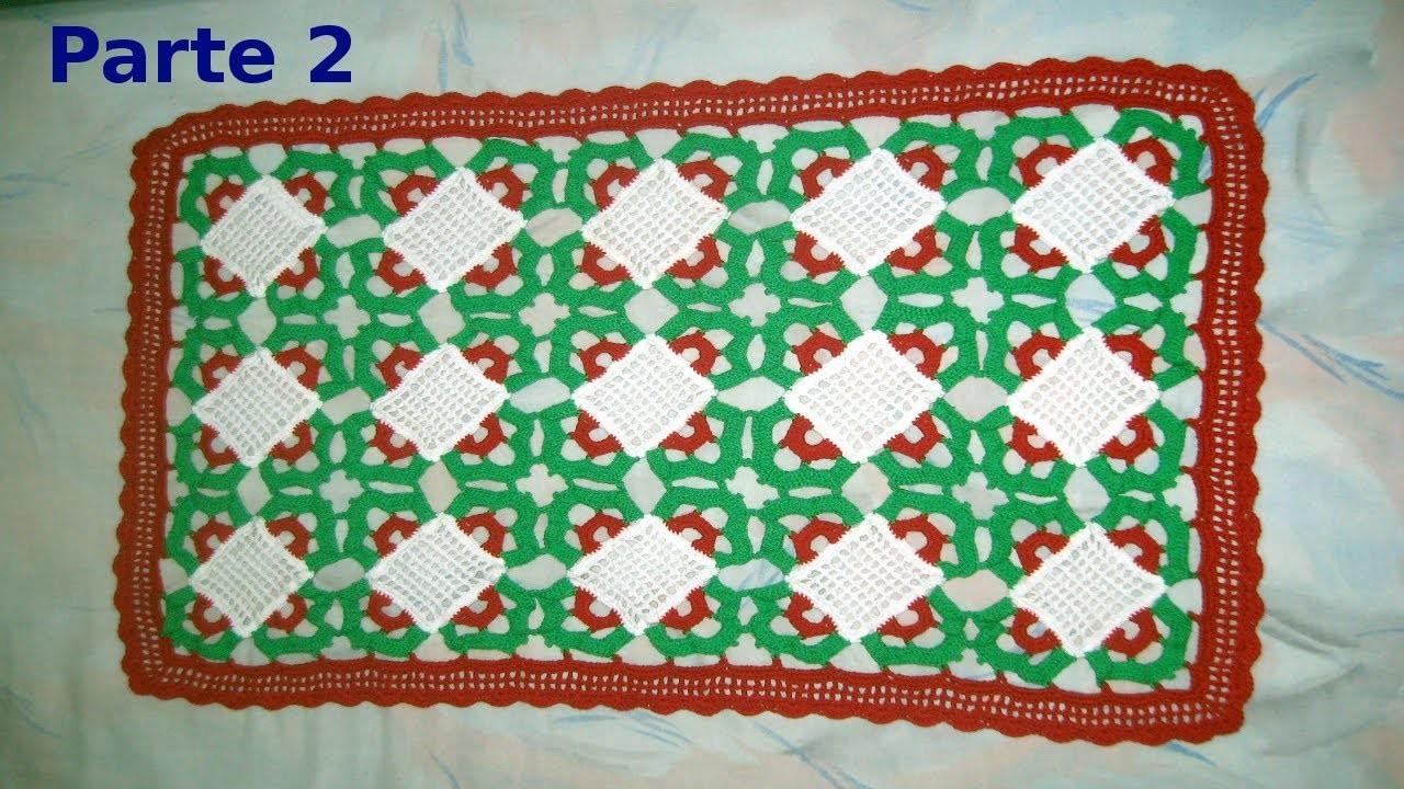 Como tejer una Carpeta de navidad en tejido crochet (parte 2) tutorial paso a paso.