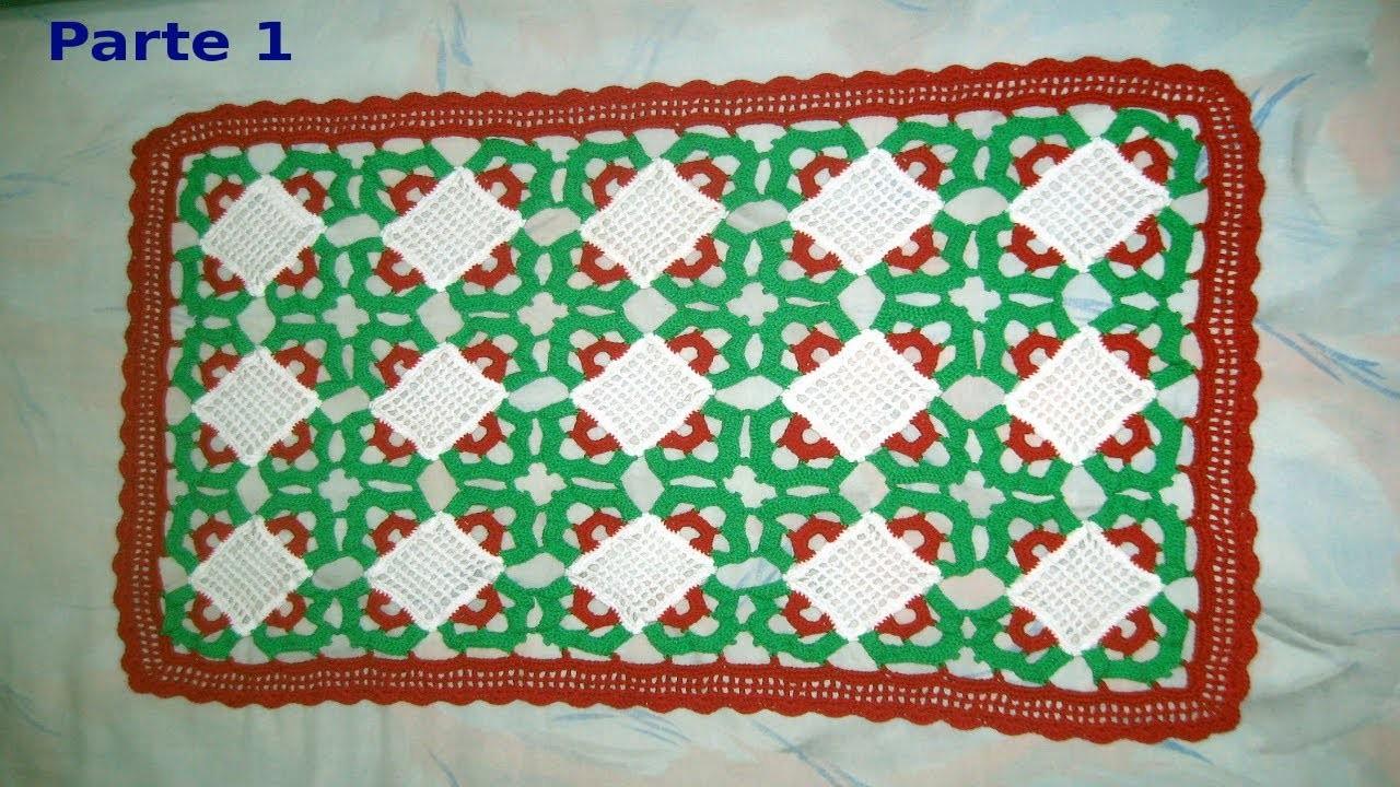 Como tejer una Carpeta de navidad en tejido crochet (parte I) tutorial paso a paso.