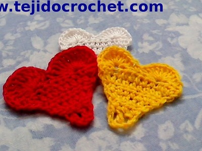 Corazon mini en tejido crochet tutorial paso a paso.
