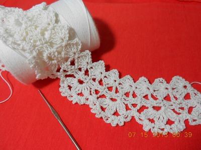 Crochet Orilla Tres Petalos o Media Flor