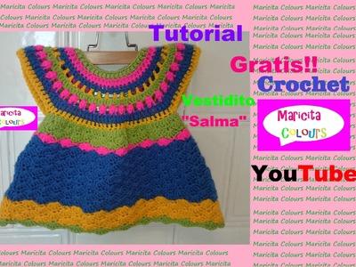 """Crochet Vestidito Bebé """"Salma"""" (Parte 2) Tutorial GRATIS!  diseñado por Maricita Colours"""
