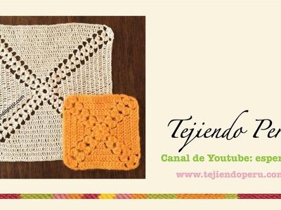 Cuadrado sin fin con piñas tejido a crochet