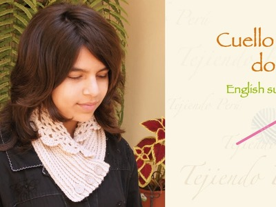 Cuello con doblez tejido a crochet. English subtitles: crochet folded neck warmer