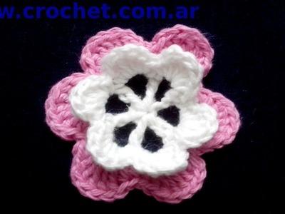 Flor N° 22 en tejido crochet tutorial paso a paso.
