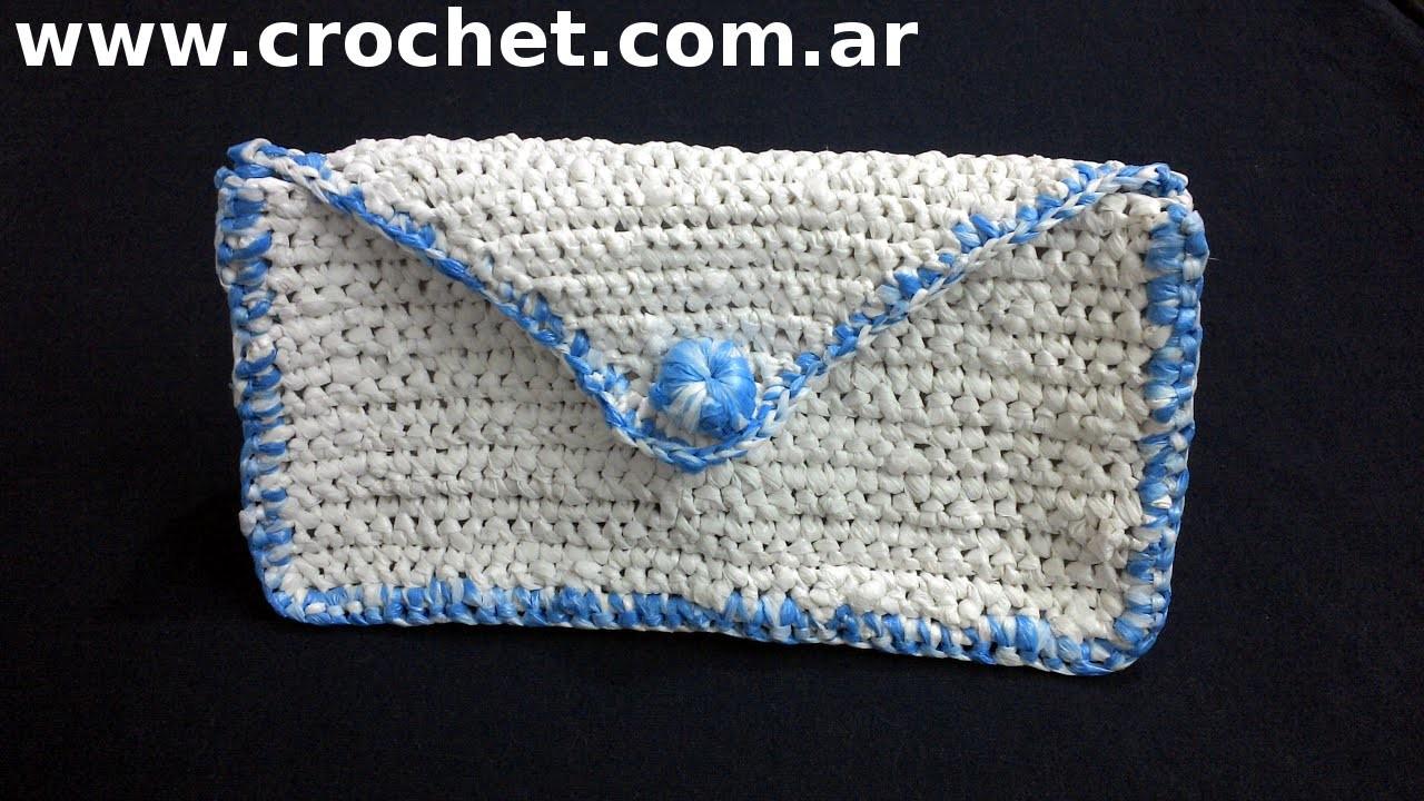 PortaCosmeticos tejido a crochet con bolsas plásticas tutorial paso a paso.