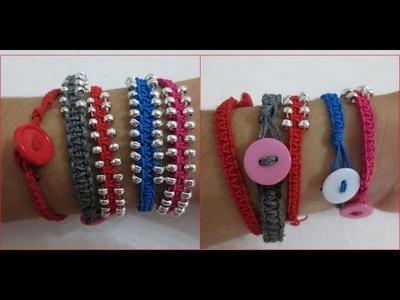Pulsera de nudo cuadrado con cuentas (square knot bracelet with beads). Macramé.