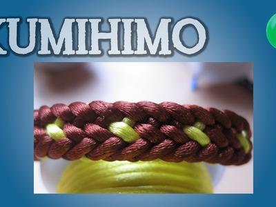 Pulsera marrón con espiga amarilla | Kumihimo | Tutorial | DIY
