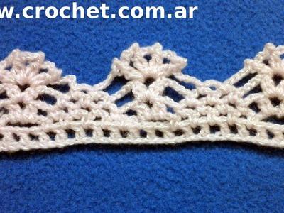 Puntilla N° 30 en tejido crochet tutorial paso a paso.