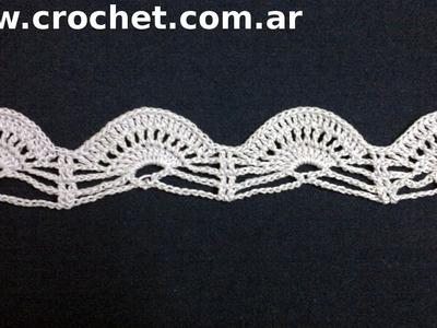 Puntilla N° 42 en tejido crochet tutorial paso a paso.