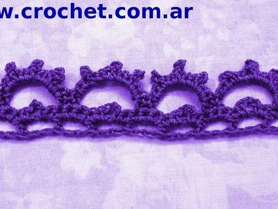 Puntilla N° 45 en tejido crochet tutorial paso a paso.