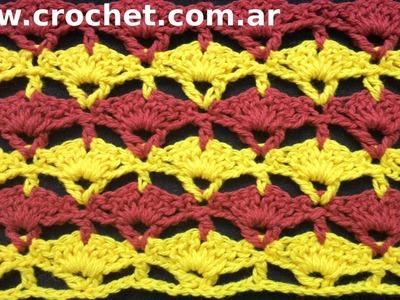 Punto Fantasía N° 22 en tejido crochet tutorial paso a paso.